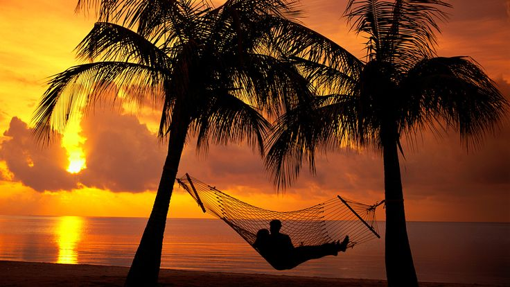 Couple Reclining on a Hammock at Sunset