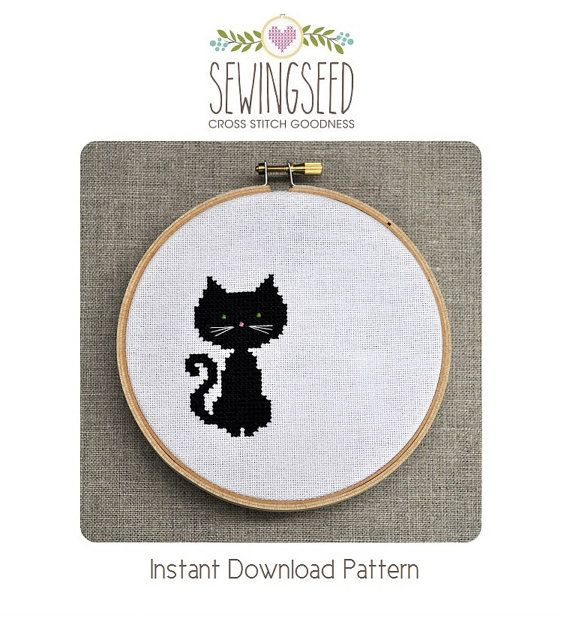 Small Black Cat Cross Stitch Pattern Instant by Sewingseed on Etsy