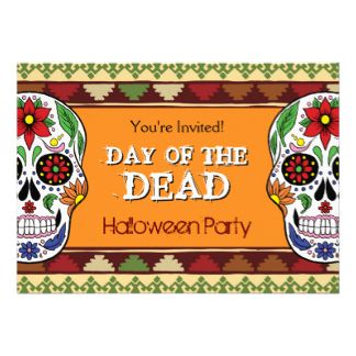 Day of the Dead Sugar Skull Mexican Halloween Card