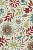 "Add flair to a room with this blossoming transitional area rug. A captivating pattern of botanicals in delightful colors to enhance a number of design styles. Snowy ivory background with cranberry red, teal blue, pear green, ecru gold, mushroom taupe, espresso brown, and russet. Machine made of soft polypropylene that is naturally stain-resistant and easy to maintain. The three piece set includes a 5' x 7', 1'8"" x 5' and a 1'8"" x 2'8""."