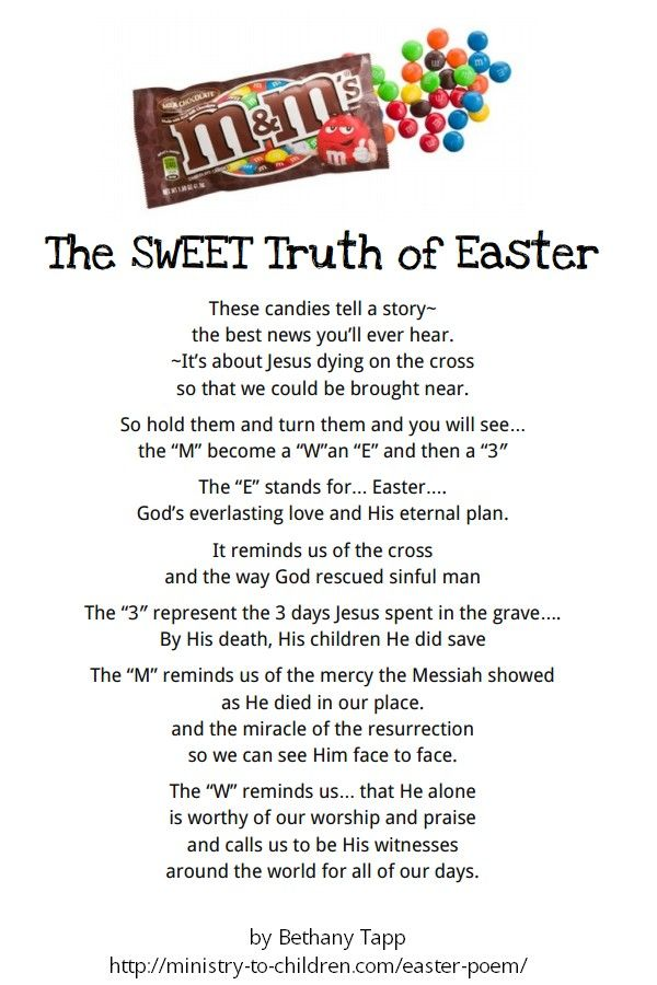 Easter with MEaster Stories, Sunday Schools, Mms, Easter Poems, Sweets Truths, Children Ministry, Easter Treats, M M, Easter Ideas
