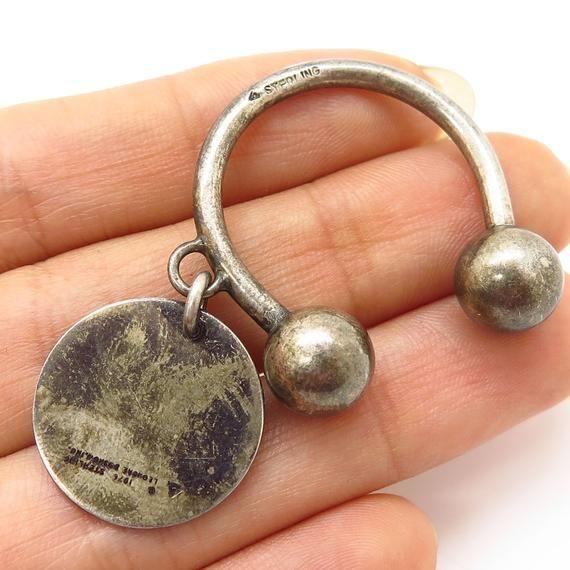 da54c805b Vtg 1976 Leonore Doskow 925 Sterling Silver Screw Ball Key Ring Chain