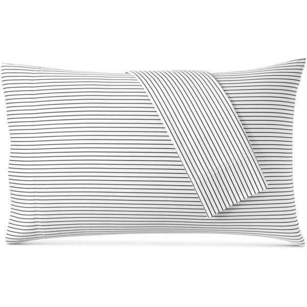 Charter Club Damask Designs Printed Pinstripe Standard Pillowcase... ($70) ❤ liked on Polyvore featuring home, bed & bath, bedding, bed sheets, pinstripe black, charter club, damask bedding, cotton bedding, black damask bedding and cotton bed linen #DesignerBedSheets