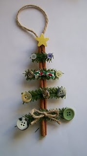 "How to Make a Cinnmon Stick Christmas Tree ~ Christmas Tree Ornament So Cute-I LOVE this, for gifts! To find it, when you click on the picture then you have to search for it under ""buttons"""