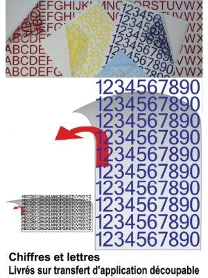Achat de Pochettes de chiffres et lettres adhésives.