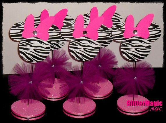 BUY 5, GET 1 FREE - Minnie Mouse Zebra Centerpiece / Minnie Mouse Zebra Party / Minnie Mouse Inspired / Minnie Mouse Zebra Decoration on Etsy, $50.00