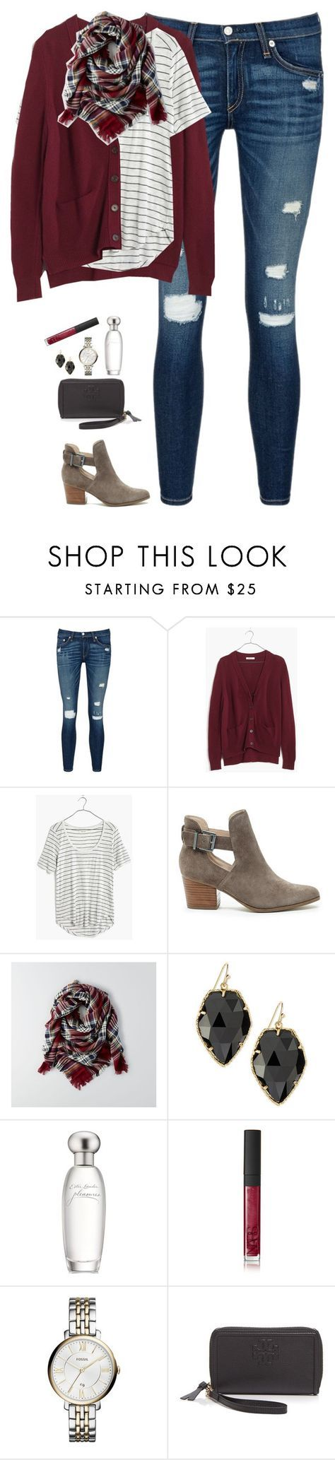 """""""Burgundy cardigan, plaid scarf & striped tee"""" by steffiestaffie ❤ liked on Polyvore featuring rag & bone/JEAN, Madewell, Sole Society, American Eagle Outfitters, Kendra Scott, Estée Lauder, NARS Cosmetics, FOSSIL and Tory Burch"""