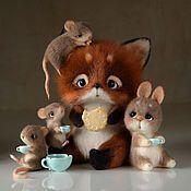 Куклы и игрушки ручной работы. Ярмарка Мастеров - ручная работа Маленькое вечернее чаепитие. Игрушка из шерсти.. Handmade.