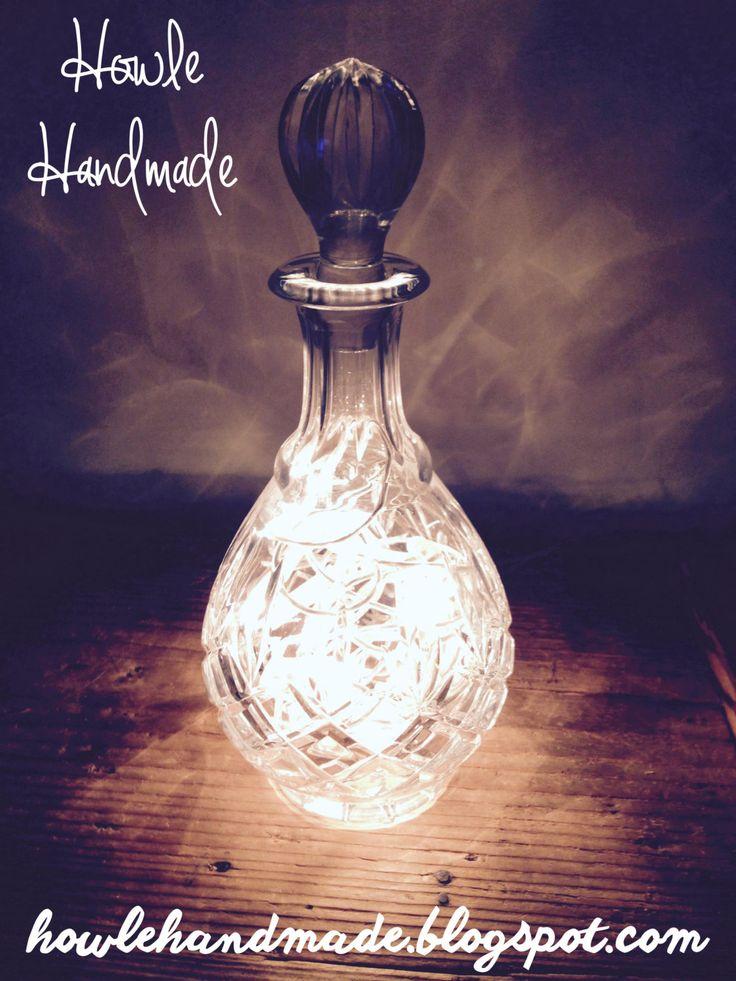 Upcycled Decorative Decanter Light Bottle Lamp by HowleHandmade on Etsy https://www.etsy.com/listing/252096238/upcycled-decorative-decanter-light