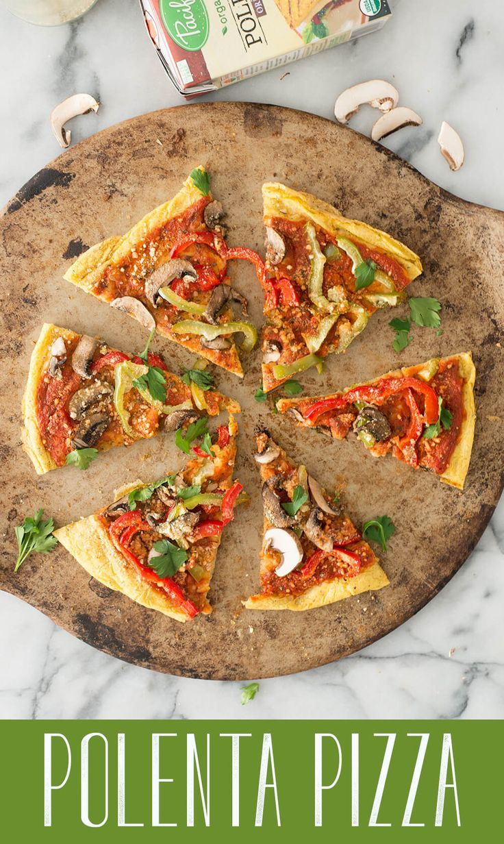 Polenta Pizza! Healthy, gluten-free take on pizza. Creamy polenta crust topped with sauce, veggies and vegan parmesan cheese. A must-make.