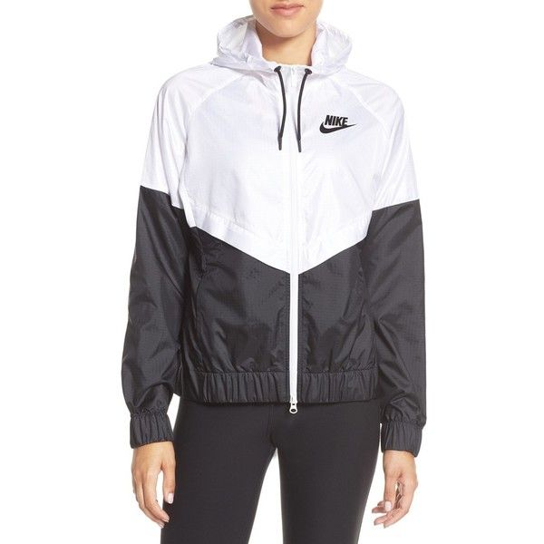 Women's Nike 'Windrunner' Hooded Windbreaker ($90) ❤ liked on Polyvore featuring activewear, activewear jackets, track jacket, track top, nike sportswear, nike activewear and warm up jackets
