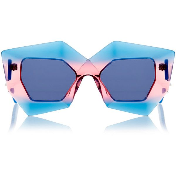House Of Holland Superhero Tropical Cocktail Sunglasses ($80) ❤ liked on Polyvore featuring accessories, eyewear, sunglasses, glasses, blue, uv protection sunglasses, house of holland, blue glasses, blue lens glasses and cocktail glasses