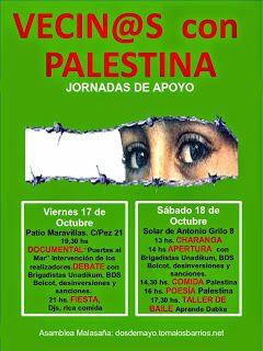 """Madrid: Ayuda para las jornadas """"Vecin@s con Palestina"""": turnos de barra y preparación de comida http://laoropendolasostenible.blogspot.com.es/2014/10/madrid-ayuda-para-las-jornadas-vecins.html"""
