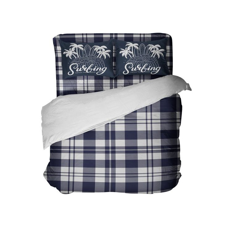 Blue Surfer Plaid Comforter Set with Surfing Pillowcases from Kids Bedding Company