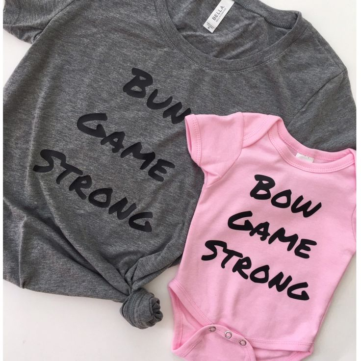 mommy and me t shirts - bow game strong, bun game strong