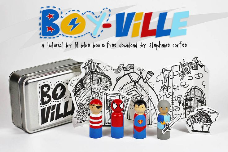 the boy version of box o' princesses! tutorial and a free downloadable background graphic.....great Christmas and holiday gift or stocking stuffer #diy #toy #tutorial: Wooden Dolls, Peg People, Gifts Ideas, Peg Dolls, Superhero Peg, Handmade Gifts, Superheroes, Super Heroes, Free Downloads