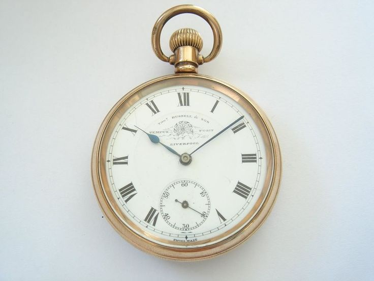 1910 THOMAS RUSSELL GOLD PLATED SWISS LEVER POCKET WATCH IN WORKING ORDER #THOMASRUSSELL