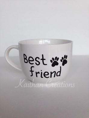 Best Friend Mug for the dog lovers by Kaithan Creations. Can be personalized. Visit my Facebook page to place your order. https://www.facebook.com/kaithancreations/photos/a.477422192457533.1073741846.216663808533374/484313451768407/?type=3