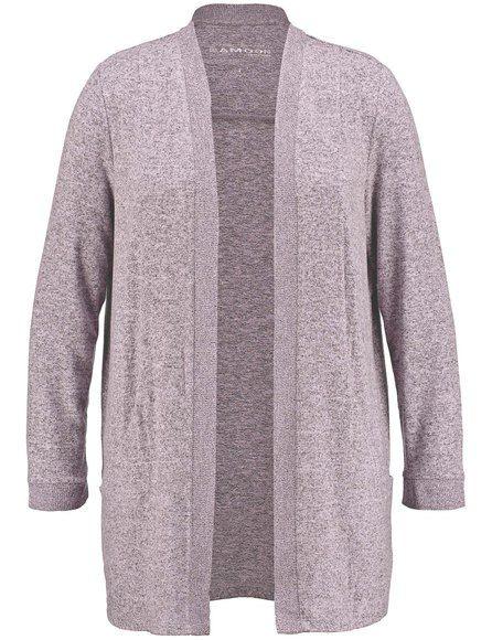Het open lange vest met levendige melange effect is een veelzijdige fashion partner. Fijn vloeiend door de Jersey-comfort. Lengte ca. 80 cm in maat 42...