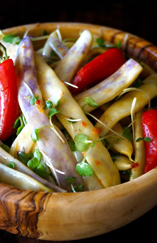 Dragon Tongue Bean Salad Recipe with Spicy Honey Mustard Dressing -- Colorful, beautiful, and so tasty -- this is the perfect summer side dish for barbecues or a vegan main course.