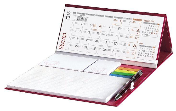 Kalendarz biurkowy z notesem i długopisem
