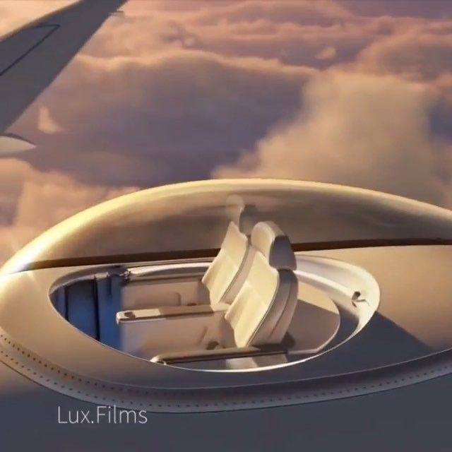 The SkyDeck will give passengers 360-degree views from a transparent bubble installed on the top of a plane. Designed by Windspeed Technologies    Edited by @lux.films