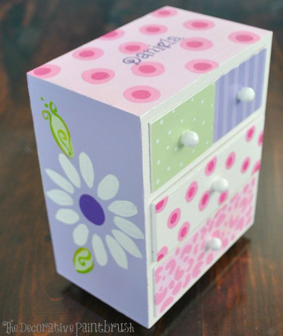 Painted Jewelry Box Personalized Gift Flower by TheDecorativeBrush,