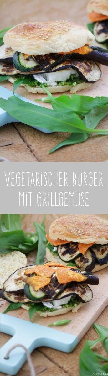 Tulpentag: Vegetarischer Burger mit Grillgemüse, Feta, Süßkartoffel und Bärlauchpesto #burgerbuns #buns #rezept