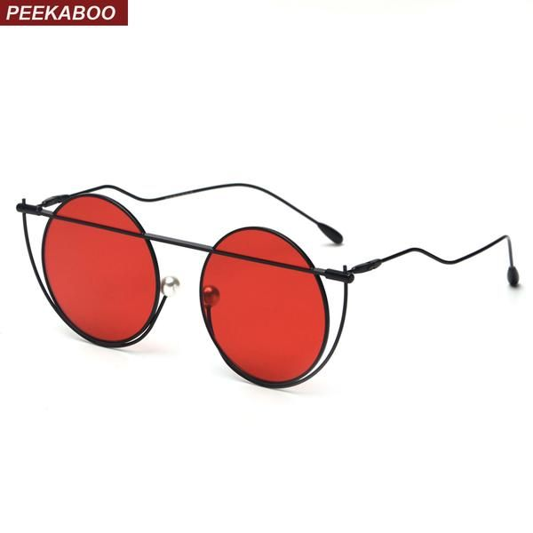 #DealOfTheDay #FASHION #NEW Peekaboo round metal sunglasses men vintage retro 2018 clear lens red sun glasses for women round black yellow…