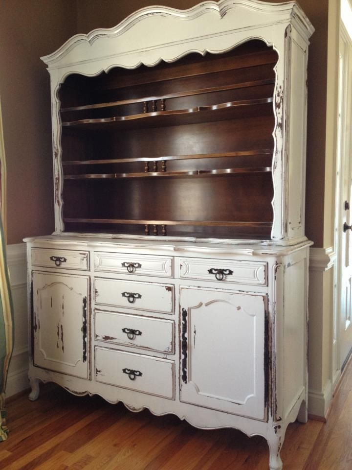 French provincial white distressed buffet with hutch for for Antique white kitchen cabinets for sale