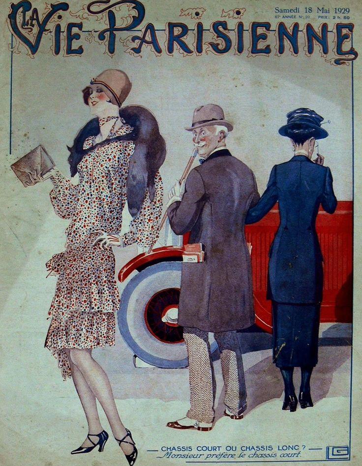 """Checking out the New Model""   Georges Leonnec illustration for La Vie Parisienne c.1929"