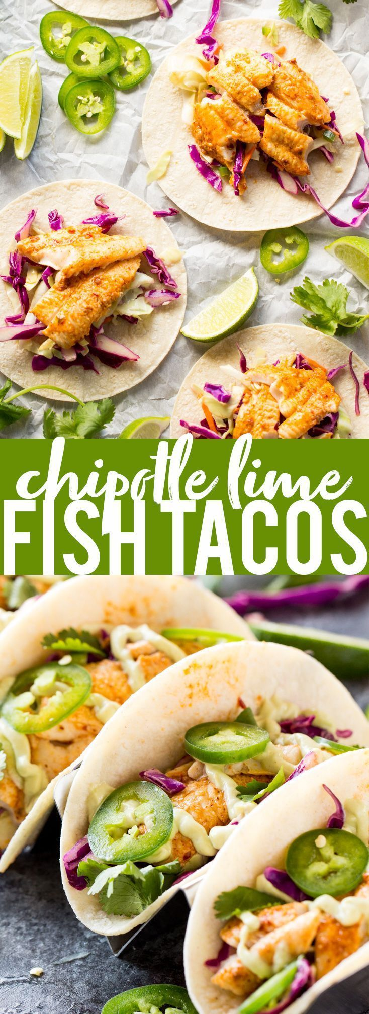 Chipotle Lime Fish Tacos with crunchy jalapeno lime slaw and creamy avocado crema are an easy and flavorful weeknight dinner! Taco Recipe | Baja Fish Tacos | Spicy Fish Tacos | Fish Recipes | Cinco De Mayo Recipes