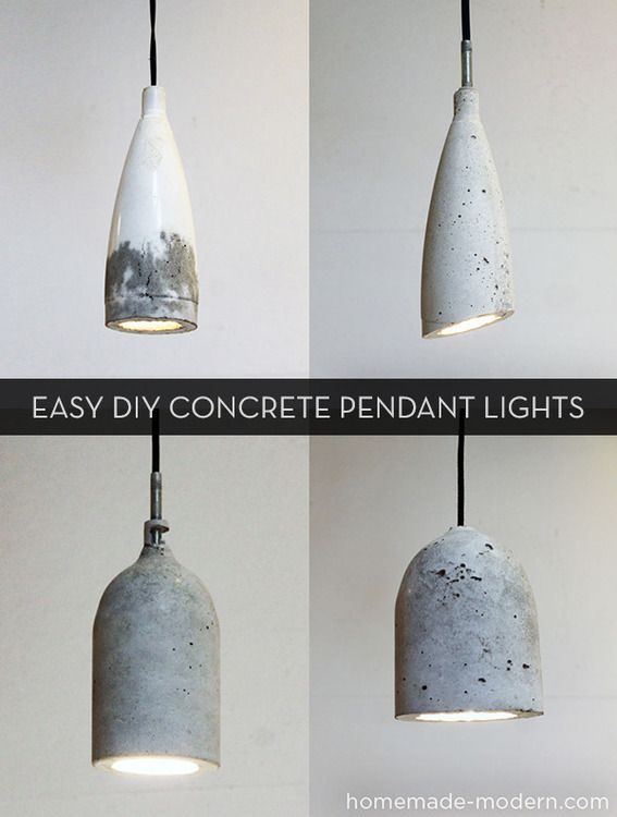 Easy #DIY concrete pendant lights! :: I love all of these! The bottom two remind me of Joachim Manz' concrete pendant lamps (I *think* I have his name right)