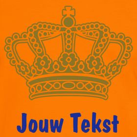 oranje koninginnedag shirt met gouden kroon en eigen tekst | Oranje voetbal kleding