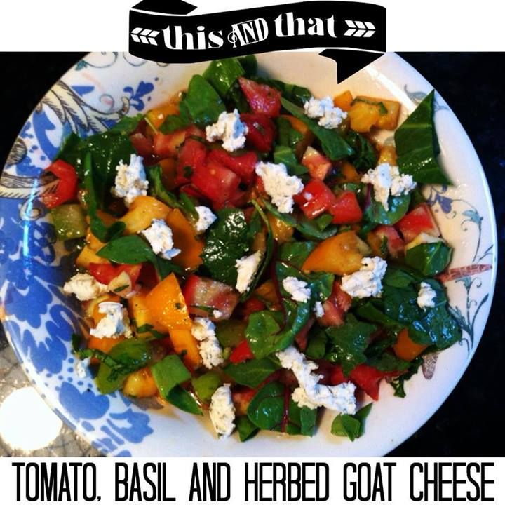 Tomatoes, basil, spinach, fresh garlic, olive oil, apple cider vinegar, herbed goat cheese, sea salt, and pepper #PrimalBliss
