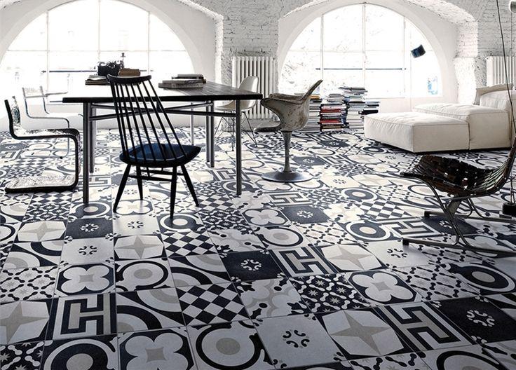 Cementtegels met een sterke expressie in een zwart wit combinatie