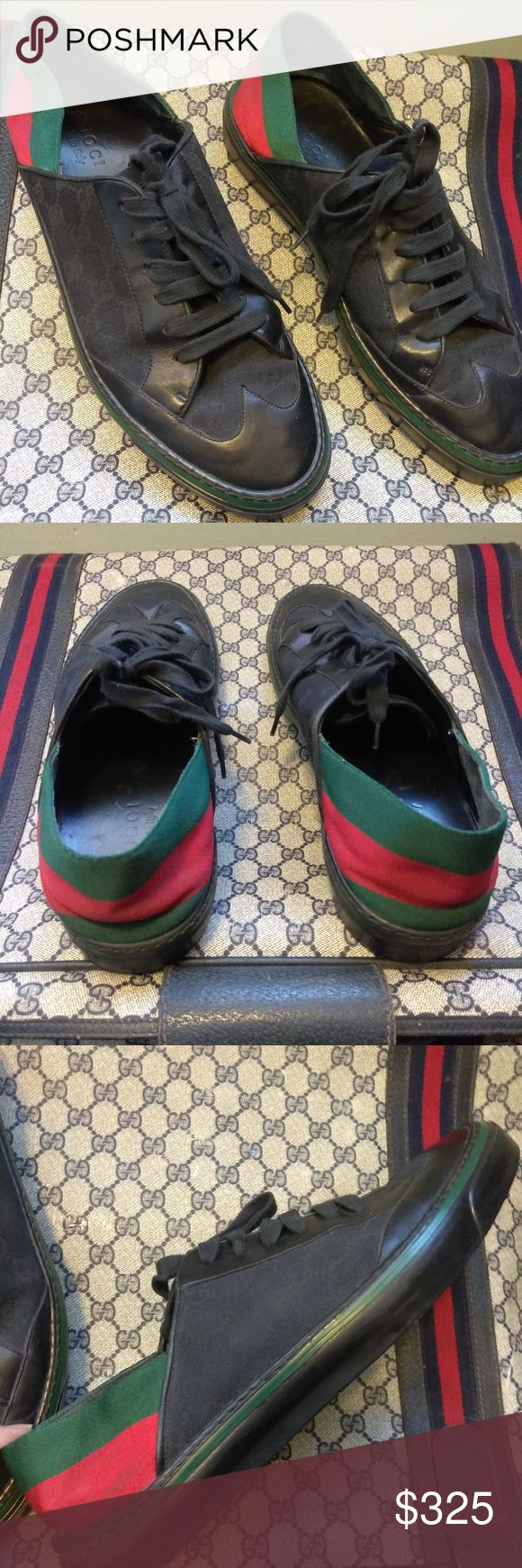 ⭐💥💯  gucci shoes⭐💥make offer 100% AUTHENTIC GUCCI SHOES GENTLY WORN AND IN A SMOKE FREE HOME .THEY ARE IN EXCELLENT CONDITION WITH A FEW MINOR  SCUFFS AND POSSIBLY CLEANED AT THE BOTTOM OF THE SHOE IF NEEDED  AS SHOWN IN PICTURES OTHER THAN THAT THEY ARE IN VERY GOOD CONDITION AND READY TO BE FASHIONABLE WORN. DATE NUMBER IS (1705690) AND THE SHOE SIZE IS A 10 1/2  . PRICE IS FIRM BUT WILL ENTERTAIN OFFERS . COMES WITH  NO BOX OR TAGS Gucci Shoes Sneakers
