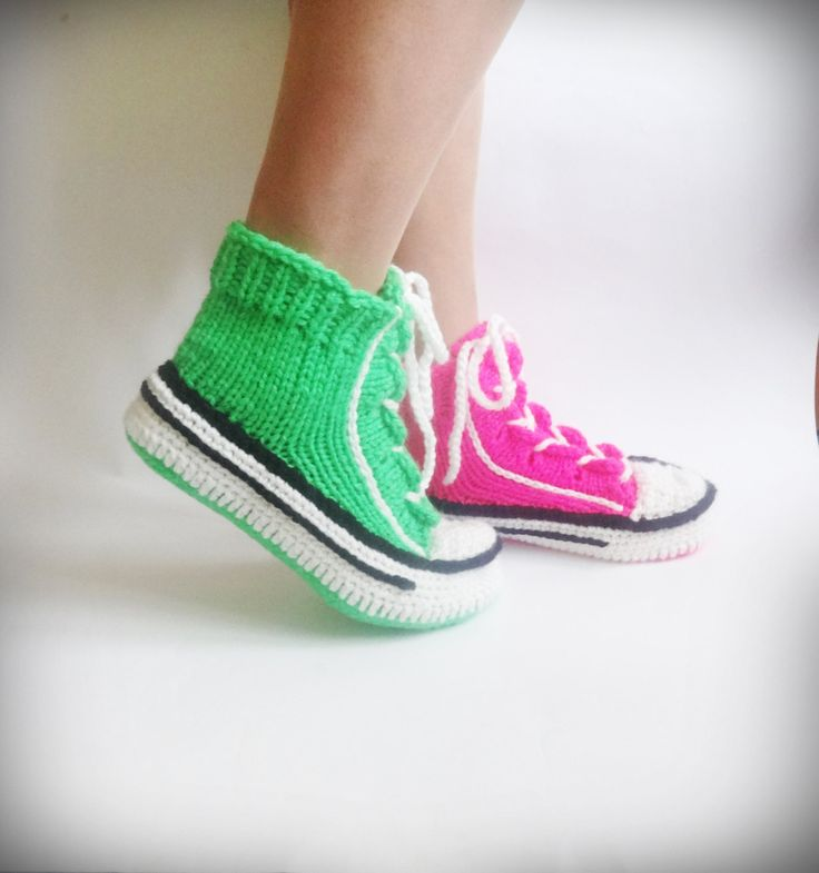 Neon Green Slippers, Neon Converse Slippers,Neon Green Sneakers, Knitted Woman Sneakers, Neon Crochet Sneakers, Green Neon Crochet Slippers by CrazyButterflies on Etsy https://www.etsy.com/listing/399024443/neon-green-slippers-neon-converse