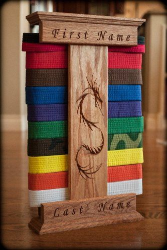Personalized Oak Karate Belt Display Dragon Style, 2015 Amazon Top Rated Martial Arts #Sports