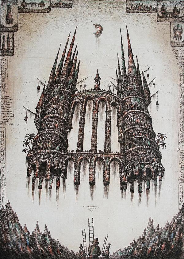 Sergey Tyukanov's fantastical buildings