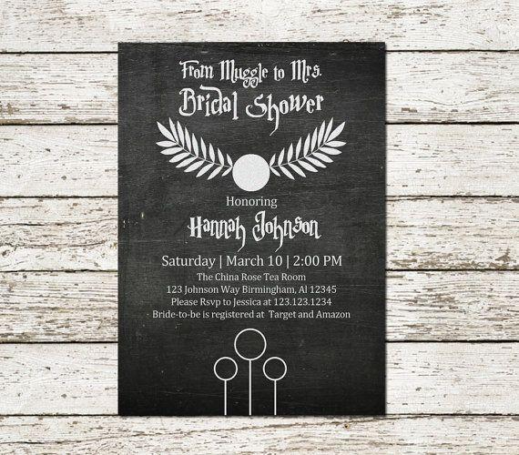 Harry Potter Inspired Bridal Shower Wedding Invitation