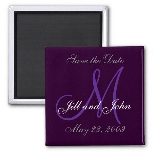 Purple save the date magnet you can customize! #wedding #savethedate