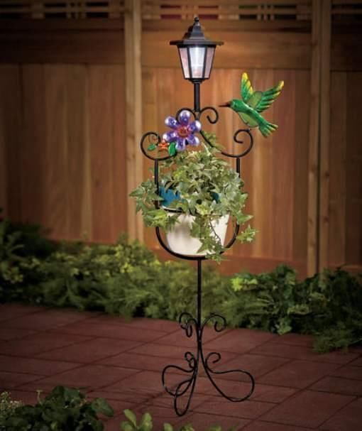 Solar Lantern Plant Stand Hummingbird And Flower Deck