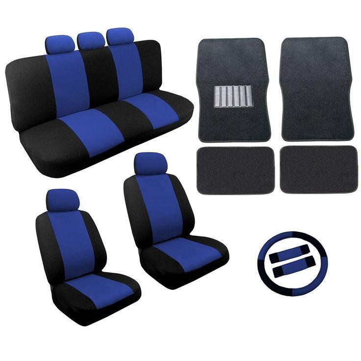 Unique Blue/Black Two Tone Car Seat Covers Black Mats Set 18pc- Nissan Sentra (Color)
