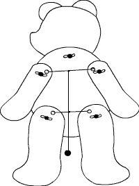 Die Markierungen für die Musterbeutelklammern und die Löcher für die Schnur werden durchstochen.  Dann wird der Hampelbär entsprechend der Skizze zusammengebaut. Es werden der Kopf, die Arme, und die Beine mit den Musterbeutelklammern am Körper befestigt.  Danach werden die Arme mit Zwirn verbunden.