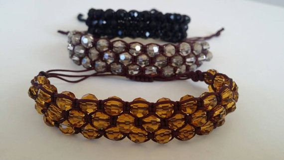 Yellow glass stones bracelet three lines of stones and by FsMade