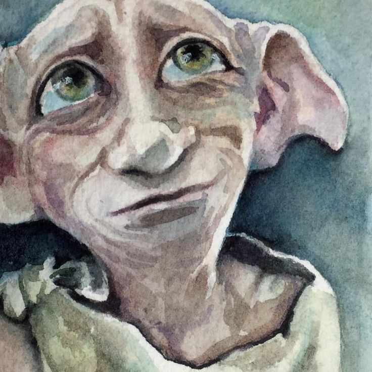 """62 Likes, 10 Comments - Christy Obalek (@christyobalek) on Instagram: """"Dobby ...continuing with the itty bitty Potter Portraits. Watercolour 2.5"""" x 3.5"""". #portrait…"""""""