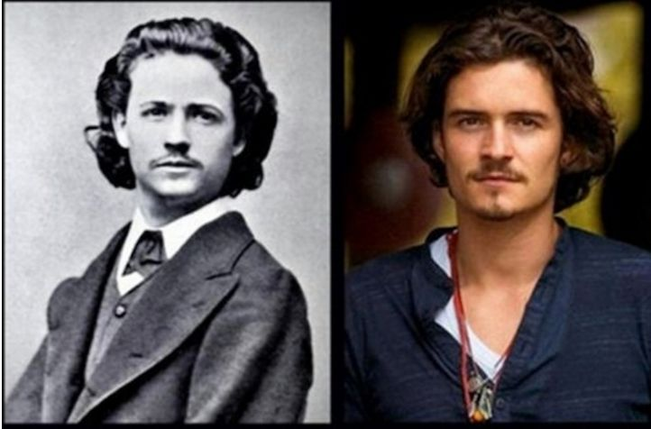 Nicolae Grigorescu on the left and Orlando Bloom on the right. Nicolae is the founder of modern Romanian painting.