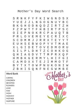 Fun way to celebrate Mothers Day with a word search