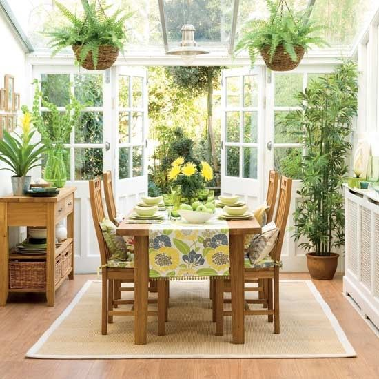 Tropical conservatory    Fill your conservatory with a variety of exotic plants. Go for ones with a structural shape and brighten any empty corners with tall plants that will reach to the ceiling. Choose a fabric with a bold leafy design. Use it to make cushion covers, blinds and a table runner. Fabrics with splashes of zingy lemon will really spice up the look.